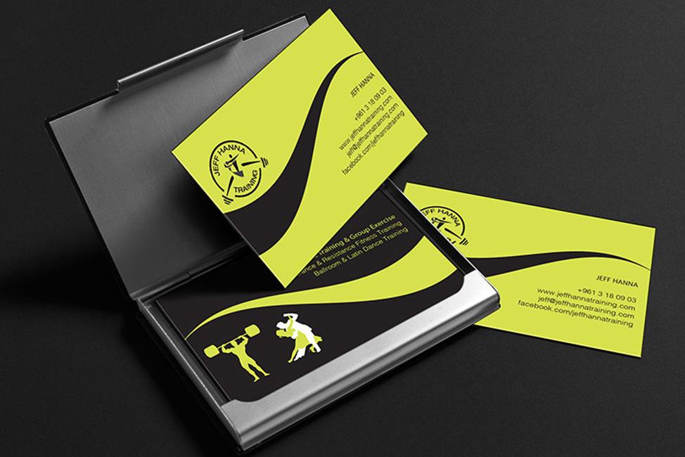 business card mockup on black background